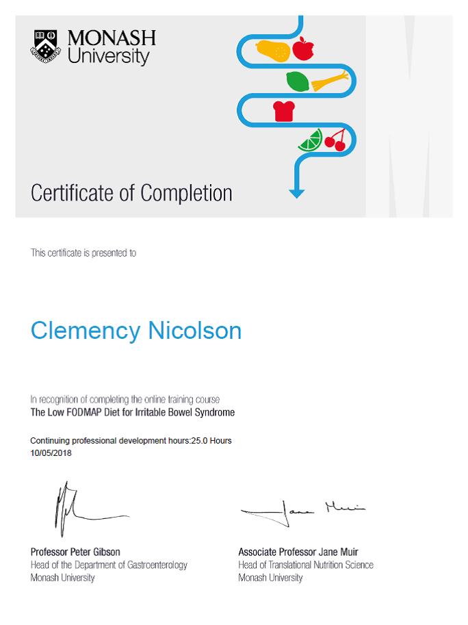 Clemency Is Certified Monash University Fodmap Diet Certified That